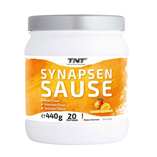 Synapsensause | Trainingsbooster | Pre-Workout-Booster | Mit Guarana und Tyrosin | 440g - 20 Portionen | Mango-Geschmack