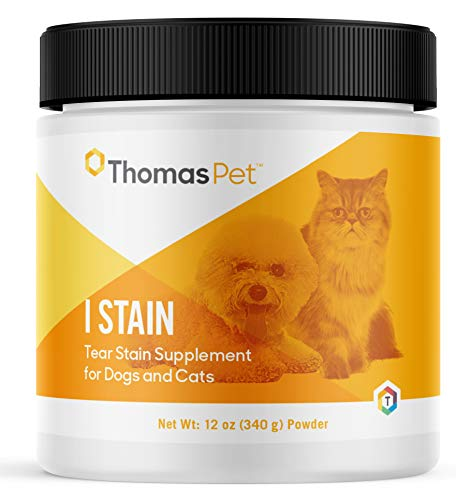 Thomas Pet I Stain - Tear Stain Remover for Dogs & Cats - Combats Red Yeast Eye Stains - Tear Stain Supplement Helps Prevent & Eliminate Tear Stains on Dogs & Cats - 12 Ounces  Powder
