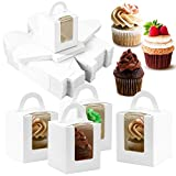 UPlama 60PCS White Single Cupcake Boxes, Clear Window Inserts Handle Cupcake Muffins Cupcake Carriers Pastry Containers Bakery Wrapping Party Favor Packing For Wedding Cupcake Favor Boxes