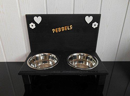 Futternapf / Hundenapf für Ihren Vierbeiner, mit 2 Edelstahlnäpfen mit je 750 ml. Handgefertigtes Hundezubehör und Tierbedarf. Lackierung in schwarz! mit Wunschname! (378PP19)