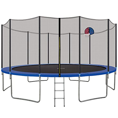 AMGYM 16 FT Trampoline with Safety Enclosure Net, Basketball Hoop and Ladder, Backboard Net, Backyard Outdoor Trampoline Combo Bounce Jump Trampoline for Kids Adults
