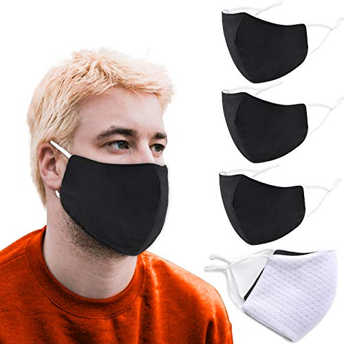 XL Face Mask for Men, Extra Large Reusable Masks with Adjustable Earloops, Premium Ultra Soft Washable, Breathable and Comfortable Cotton Fabric Cloth for Adult Unisex by AccsPro (Pack of 3) (Black)