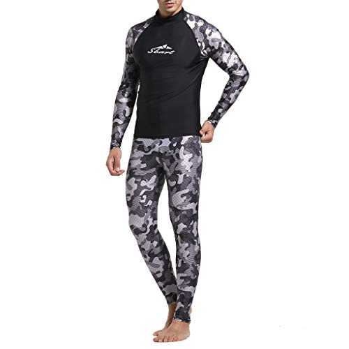 HHoo88 Mens Swim Shirt Diving Camo Rashguard Surf Swimsuit Shirts Pants Set Beach Swim UV Protection Suit Fitness Wear