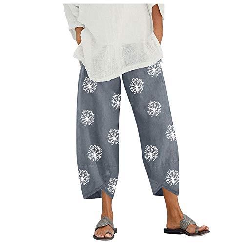 VESNIBA Pantalones de deporte para mujer, cintura elástica, pantalones de deporte, pantalones de chándal, pantalones de entrenamiento, pantalones de verano, de algodón y lino, longitud 7/8 gris L