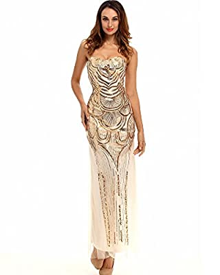 Whoinshop Women Long Strapless 1920s Gatsby Beaded Sequin Lace-up Back Maxi Prom Dress