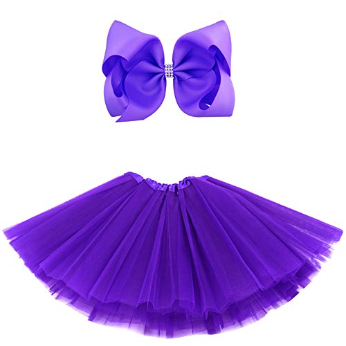 BGFKS 5 Layered Tulle Tutu Skirt for Girls with Hairbow and Hairties, Ballet Dressing Up Kid Tutu Skirt (Dark Purple, 2-8 Years Old)