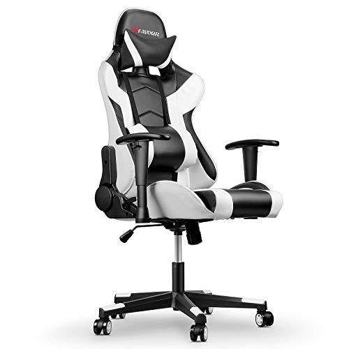 mfavour Gaming Stuhl, Computerstuhl Gaming Sessel Ergonomischer Stuhl, Verstellbare Armlehne, 180º Verstellbare Rücklehne, Hochdichter Schwamm, Kopfstütze, Lendenstürtze, Höhenverstellung Weiss