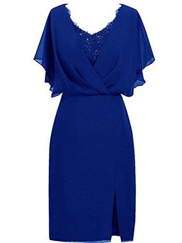 JAEDEN Robe de soirée Robe de fête Robe de mère de mariée Court Femmes Sirène Chiffon V-Col Bleu Roi EUR44