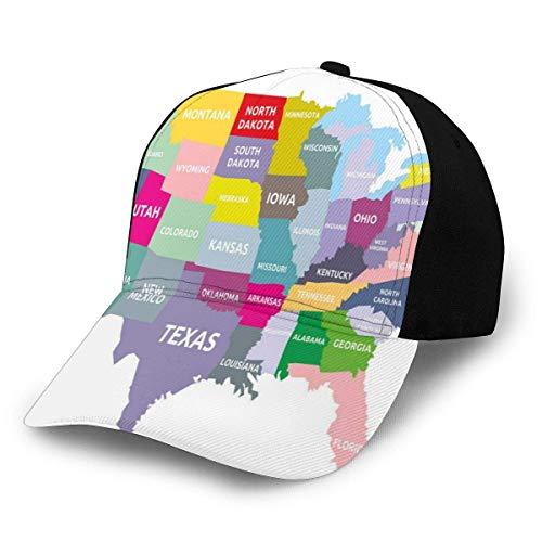 Yearinspace Gorra de béisbol Hip Hop, Mapa de Estados Unidos con nombre de Estados Unidos en América Geografía Cartografía Tema, para hombres y mujeres