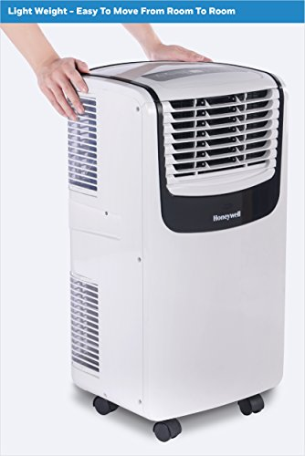 Honeywell MO08CESWK Compact Portable Air Conditioner with Dehumidifier and Fan for Rooms Up To 350 Sq. Ft. With Remote Control (Black/White)