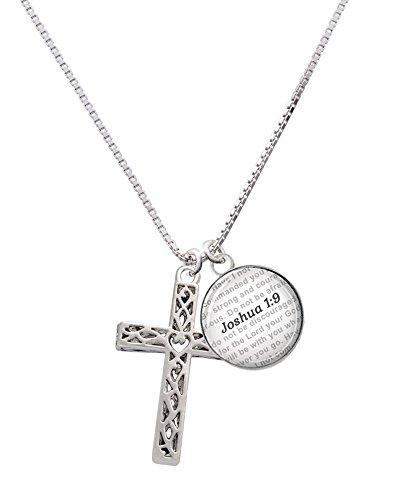 Delight Jewelry Silvertone Large Celtic Vine Cross - Bible Verse Joshua 1:9 Glass Dome Necklace, 18'+2'