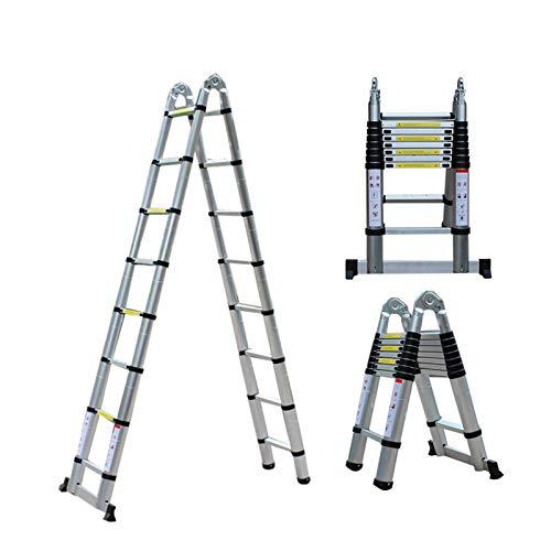 Escalera Plegable Aluminio de 5 m ,Escalera telescópica de aluminio,Escalera multifuncional,Escalera de mano extensible,Escalera Alta Multifuncional Portátil,Máxima 150 kg capacidad de carga