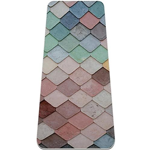 Esterilla de yoga para hombres y mujeres extra gruesa antideslizante alfombra de ejercicio interior hogar profesional fitness antideslizante Mat textura colorida