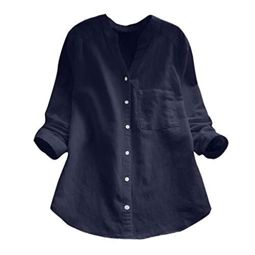 HIRIRI Women Cotton Linen Casual Loose Button Down Shirt Solid Long Sleeve Basic Blouse Henley Tops Blue