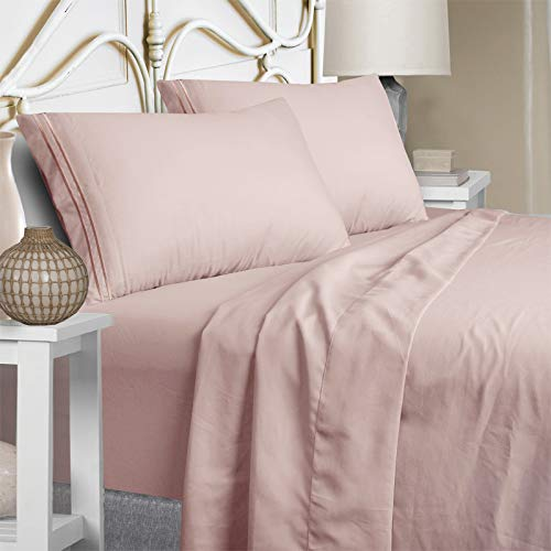 Mejoroom California King Bed Sheets Set 15 Inches Deep Pocket 1800 Thread Count Percale California King Sheets Super Soft and Comforterble Wrinkle Free & Fade Resistant(California King,Dusty Pink)