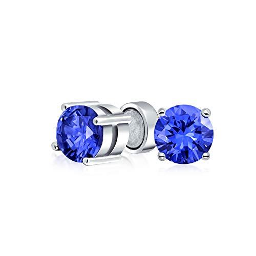 1 CT Round Royal Blue CZ Simulato Zaffiro AAA CZ Taglio brillante Clip solitario magnetico sugli orecchini a perno per argento sterling non forato .925