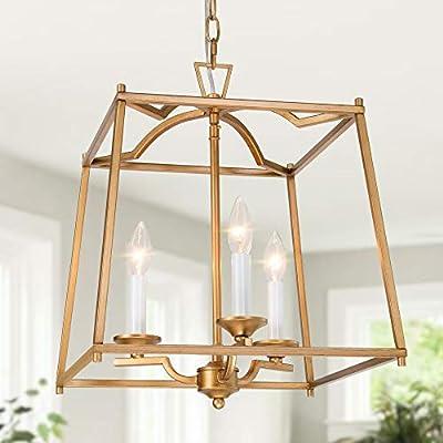 "KSANA Gold Pendant Light Fixtures, Large Lantern Chandelier, Foyer Pendant Lighting for Kitchen Island, Hallway and Entryway, 14.5"" W x 18"" H"