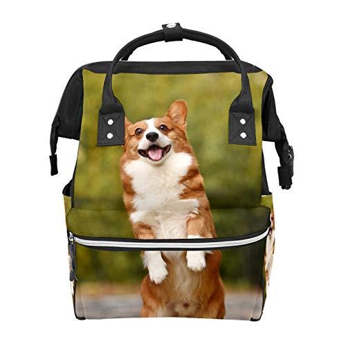 Corgi Cute Dog Diaper Backpack Bags Multifunction Backpack for Mom Girl Women School Travel Hiking Bag Laptop Baby Bag