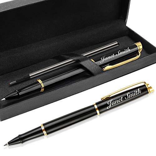 Penne Personalizzate Con Nome Eleganti, Incisione Penne Laurea,Ball Point Penne 0.7, Set Penne Gel Nere (Oro & Nero)