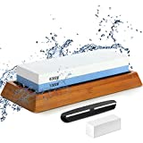 Double-sided Sharpening Stone 1000/6000, with Corner Guide, Correction stone, Non-Slip Bamboo Base,...