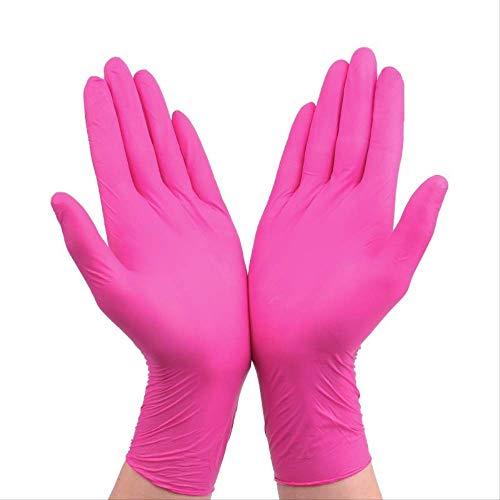 Guanti monouso in lattice di gomma , 100 pezzi, guanti per la pulizia della casa , guanti resistenti durevoli, rosa, usa e getta, guanti per uso alimentare, guanti rivestiti in gomma nitrilica, m