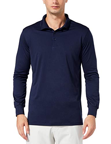 BALEAF Men's UPF 50+ Performance Quick Dry Golf Solid Polo Active Shirt Long Sleeve Navy Size XL