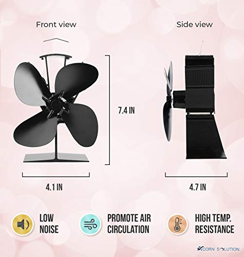 Acorn ventilador alimentado por calor para estufa de leña y chimenea, respetuoso con el medio ambiente y eficiente, color negro