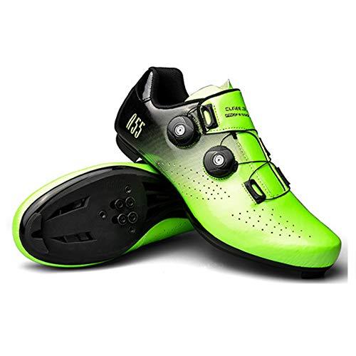 KUXUAN Zapatillas de ciclismo de carretera para hombre – Zapatillas de spinning con plataforma compatible con calzado Peloton con SPD y Delta, Green-45EU