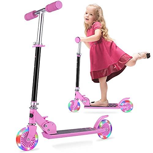 Kinder Roller - Scooter Kinder FONTE KS1 Faltbar umweltfreundliche -Beleuchtungsräder 4 einstellbare Höhen für Kinder von 3-12 Jahren mit maximaler Belastung von 50 kg - Rosa