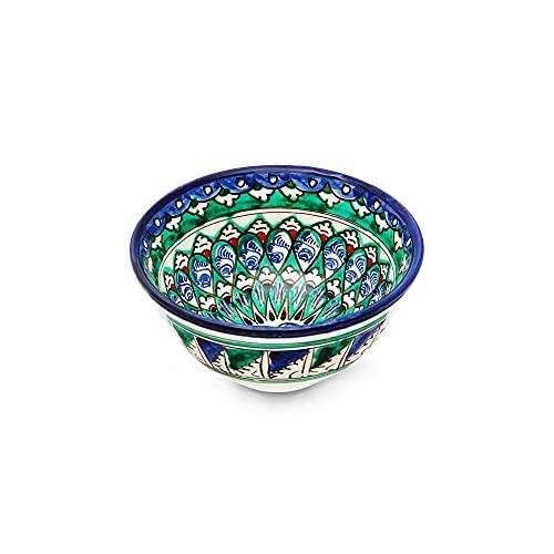 Cuenco de cerámica oriental Rishtan para cereales, hecho a mano, diámetro de 11,5 cm, 200 ml