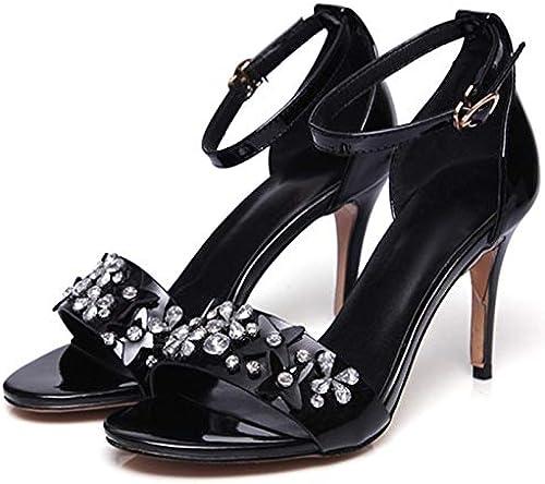 HommesGLTX Talon Aiguille Talons Hauts Sandales Mode Strass Femmes Talons Hauts Sandales été Fleur Véritable Cuir Top Qualité Chaussures De Mariage Grande Taille 34-41