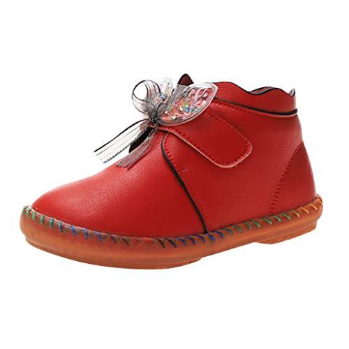 LILIGOD Baby Mädchen Mode Lederstiefel Kinder Prinzessin Stiefeletten Winter Knoten Kurze Stiefel Bequeme rutschfeste Winterstiefel Süße Weiche...
