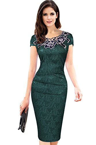 Babyonline® Damen Elegant Rose Rundhals Spitze Stitching Kleid Business Etui Abendkleid Festkleid Cocktailkleid Marineblau Gr.S-XXXL