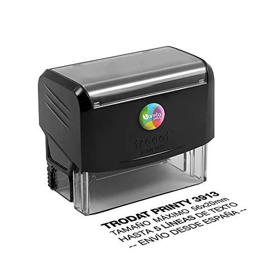 Sello Personalizado Trodat 3913, Sello de caucho con tinta, Sello autoentintable personalizado, Sello automático, Sello Empresa, Sello dirección (56 x 20 mm)