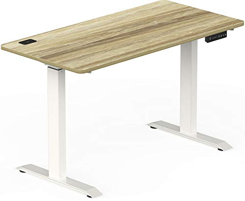 SHW Electric Height Adjustable Computer Desk, 48 x 24 Inches, Oak