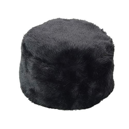 Sukisuki - Gorro de invierno unisex de pelo sintético suave de color sólido, piel sintética, negro, talla única