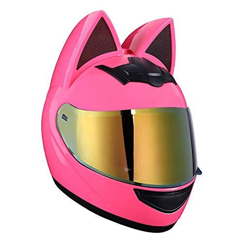 Super-ZS Casco Integral De Motocicleta Cat Ears, Visera Plegable Desmontable para Adultos Casco De Motocicleta Todoterreno Casco Integral Modular De Colisión De Motocicleta 54-62 Cm