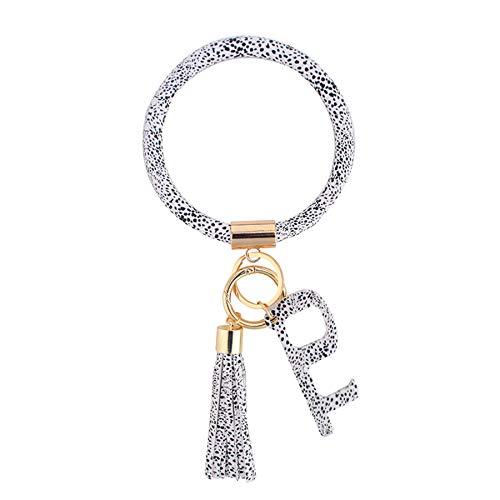 Coolcos Large Circle Bangle Keychain Touchless Door Opener Clean Key Germ Multitool Holder Upgraded Keyring Wristlet Bracelet (Black and White)