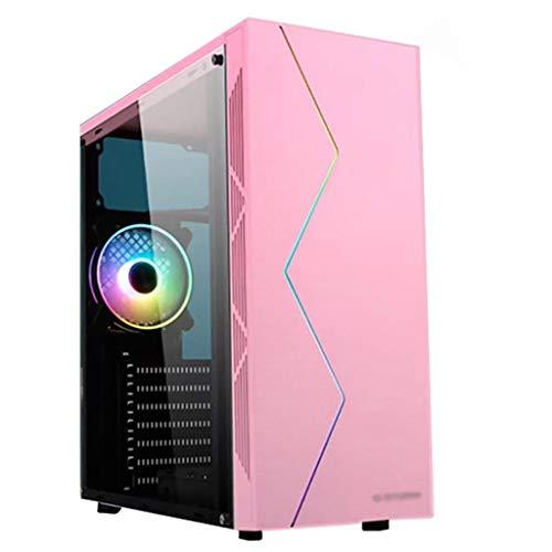WSNBB Rosa ATX Midi-Tower PC Gaming Pc Gehäuse, Magnetische Staubfilter, Voll Transparent Acryl Seitenverkleidung, Und RGB-Frontplatte, Und One-Vorinstallierte 120mm Lüfter
