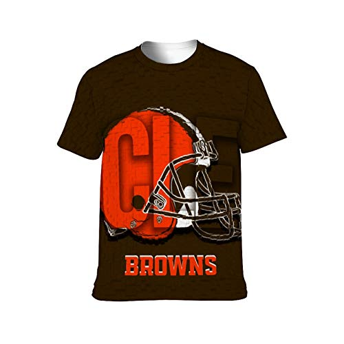 VF LSG Football Team Logo Cleveland Browns T-Shirts for Men and Women Full Print Team Color Tees & Tops for Fans 4XL