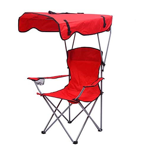Silla De Camping Plegable, Silla De Camping Portátil con Soporte Y Toldo, Silla De Camping De Aluminio Pequeña, Muy Adecuada para Caminatas En La Playa Al Aire Libre, Pesca De Picnic-Trompeta Roja