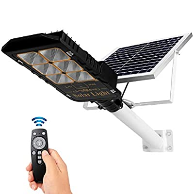 SHARBDA 100W Solar Street Lights Solar Flood Lights IP66 Waterproof 336 LEDs 10000 LM Auto On/Off Dusk to Dawn with Remote and Bracket for Exterior Roads garages, Streets, Parks and Other Places