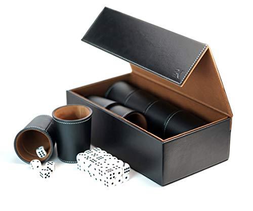 Broniks Vaso de Dados Juego Incl. 8 Tazas, 40 Cubos, Elegante Estuche de Almacenamiento y Transporte de Cuero sintético con Cierre magnético