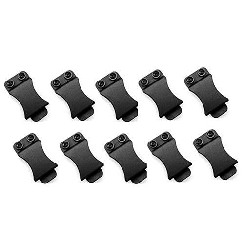 DUBAO Lote de 10 clips rectos para cinturones Kydex de 3,8 cm para correas de cinturón con tornillo para aplicaciones de herramientas (color: negro)