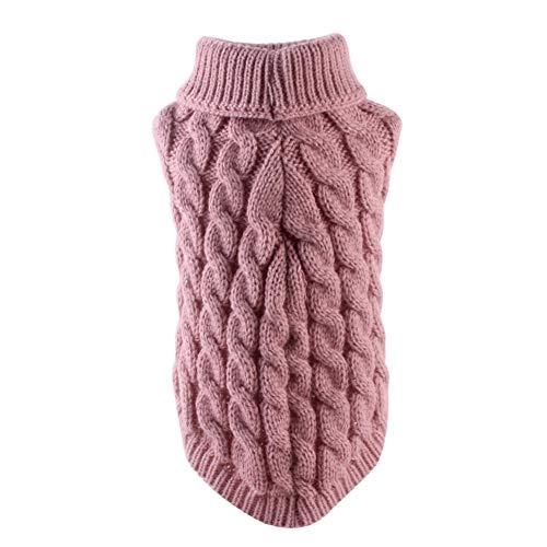 zNLIgHT Verwendung für Winter-Herbst-Schoßhund-warme gestrickte Strickjacke kleidet Mantel-Kostüm-weiches Kleid - Dunkelrosa XL