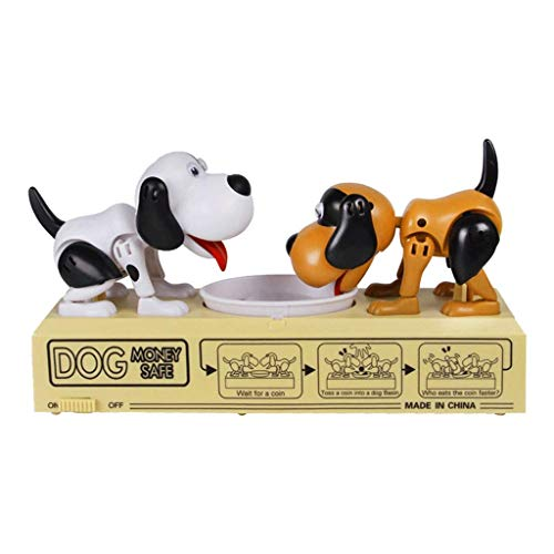 Creative Piggy Banks Hungry Eating Dog Money Box Money Bank Automatic Stole Coin Piggy Bank Money Saving Box Gift for Home Decoration, Storage