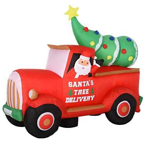 homcom Babbo Natale su Camion Gonfiabile Gigante 180cm con Luci a LED, Impermeabile e Luminoso, da Esterno o Interno
