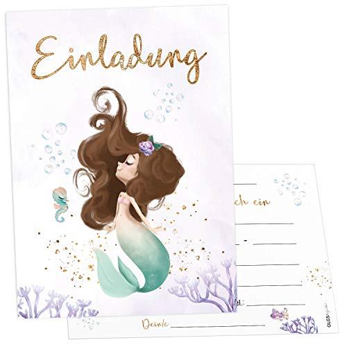 12x Meerjungfrau Einladungskarten inkl. Umschläge perfekte Einladung zum Kindergeburtstag oder Kinder Party | Geburtstag-Einladungen zum ausfüllen