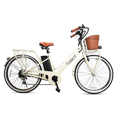 NAKTO 26' Adult Electric Bicycle 250W Electric Bike City Electric Bikes for Men Woman with Removable 36V 12A Large Capacity Lithium Battery