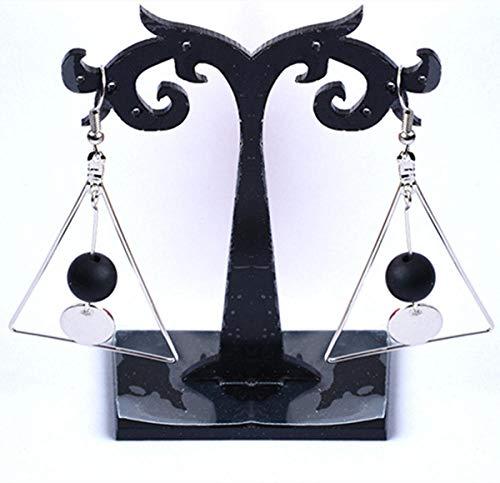 XAOQW Mode Rétro Hollow Marble Triangle Rond Perle Feuille Boucles d'Oreilles Dames Filles Bijoux-Argent 2O
